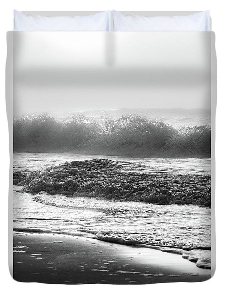 Duvet Cover featuring the photograph Crashing Wave At Beach Black And White  by John McGraw