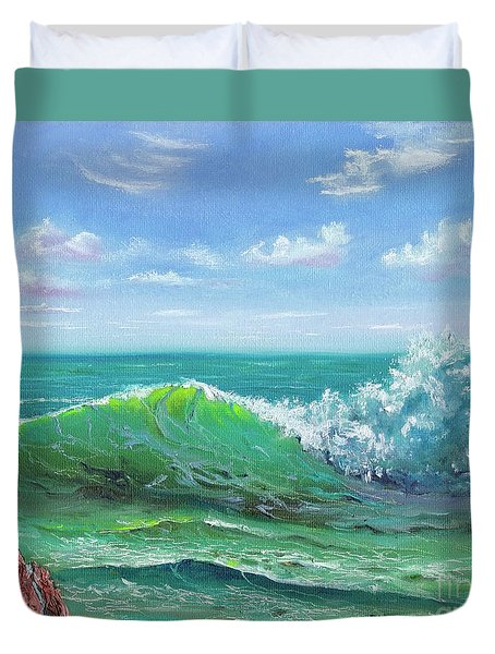 Duvet Cover featuring the painting Crashing Wave by Mary Scott