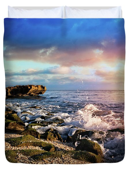 Duvet Cover featuring the photograph Crashing Waves At Low Tide by Debra and Dave Vanderlaan