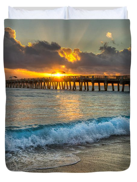 Crashing Waves At Sunrise Duvet Cover by Debra and Dave Vanderlaan