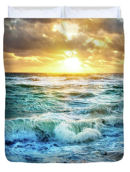 Duvet Cover featuring the photograph Crashing Waves Into Shore by Debra and Dave Vanderlaan