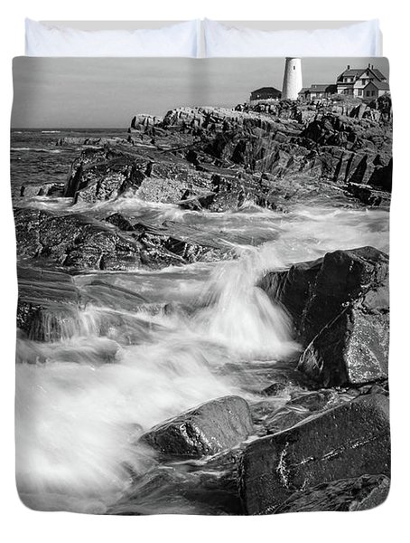 Crashing Waves, Portland Head Light, Cape Elizabeth, Maine  -5605 Duvet Cover