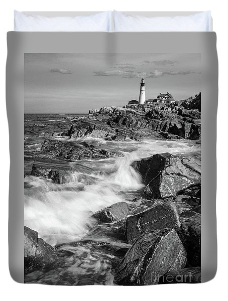 Duvet Cover featuring the photograph Crashing Waves, Portland Head Light, Cape Elizabeth, Maine  -5605 by John Bald