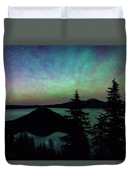 Duvet Cover featuring the photograph Crater Lake Airglow by Cat Connor