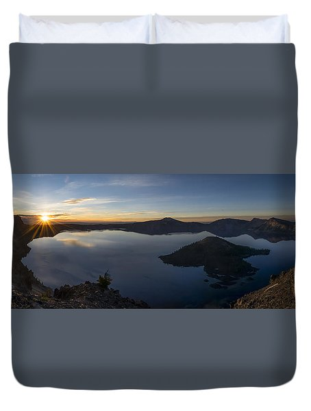 Crater Lake At Sunrise Duvet Cover