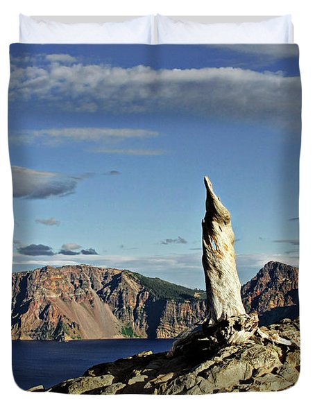 Crater Lake In The Southern Cascades Of Oregon Duvet Cover by Christine Till