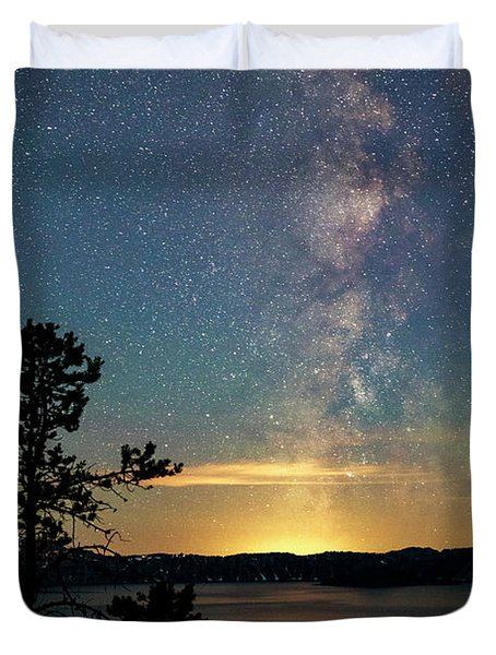 Crater Lake Milky Way Duvet Cover