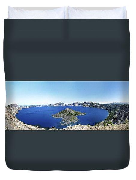 Crater Lake Panoramic Duvet Cover