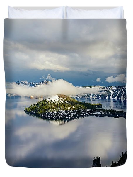 Crater Lake Storm Duvet Cover
