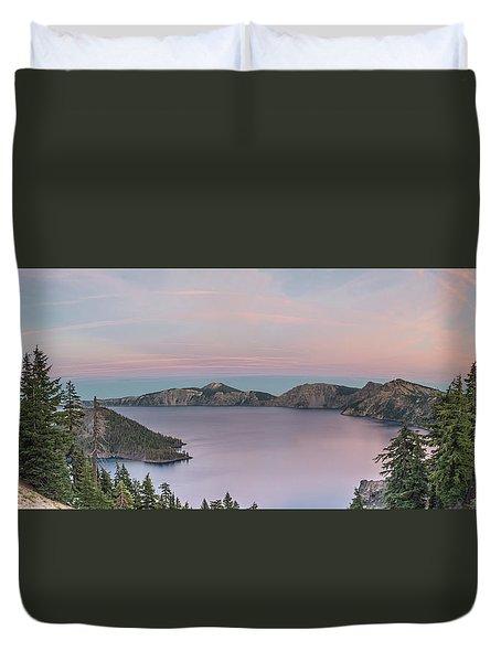Crater Lake Sunset Duvet Cover