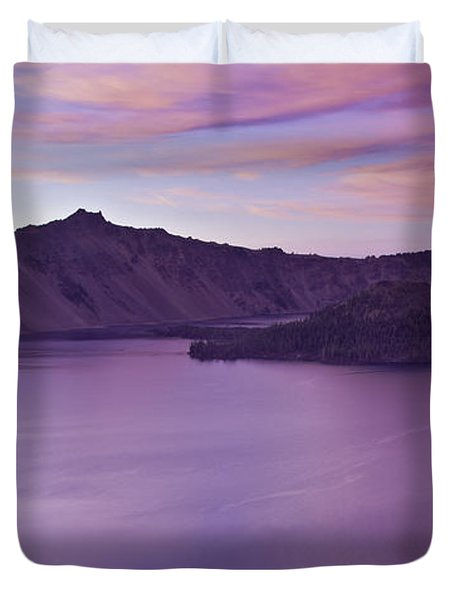 Crater Lake Sunset Duvet Cover
