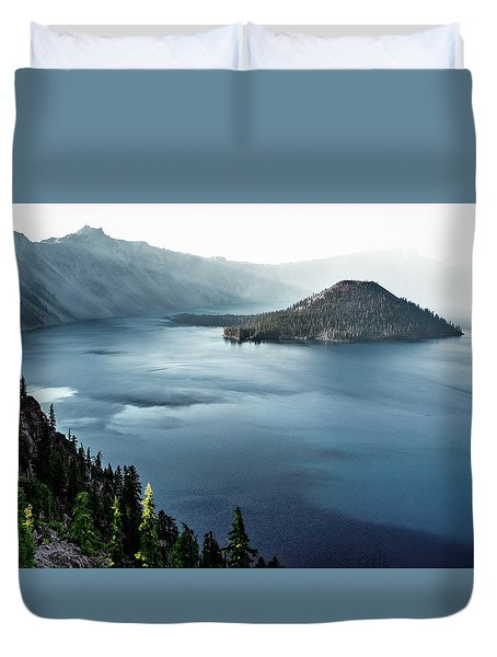 Duvet Cover featuring the photograph Crater Lake Under A Siege by Eduard Moldoveanu
