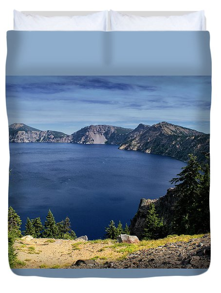 Duvet Cover featuring the photograph Crater Lake View by Frank Wilson