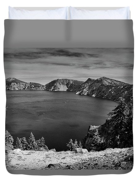 Duvet Cover featuring the photograph Crater Lake View In Bw by Frank Wilson