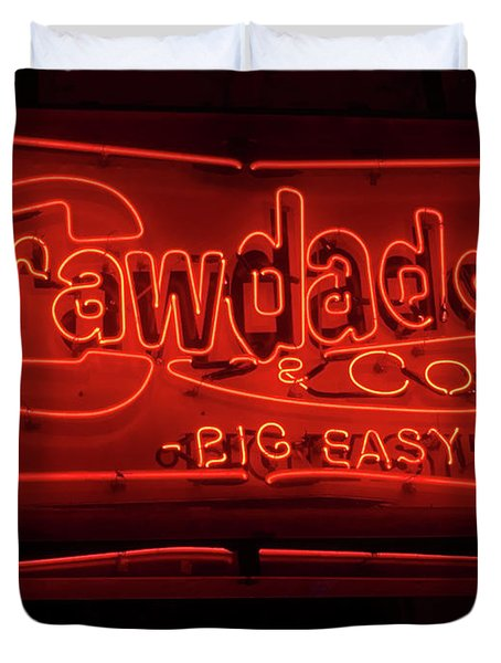 Craw Daddy Neon Sign Duvet Cover