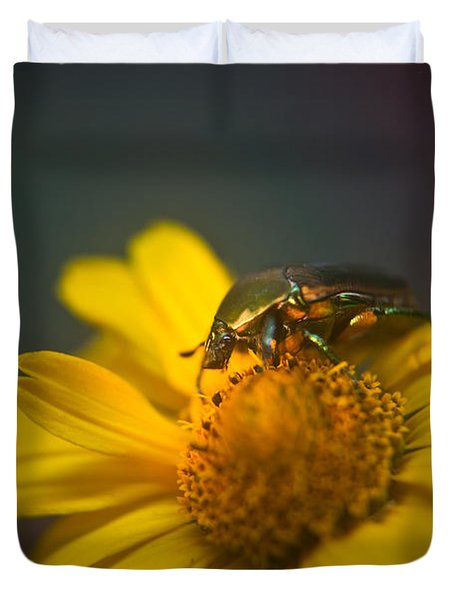 Crawling June Beetle Duvet Cover