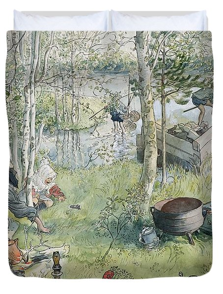 Crayfishing Duvet Cover by Carl Larsson