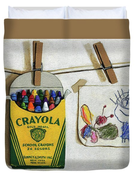 Box Of Crayons And Child's Drawing Realistic Still Life Painting Duvet Cover