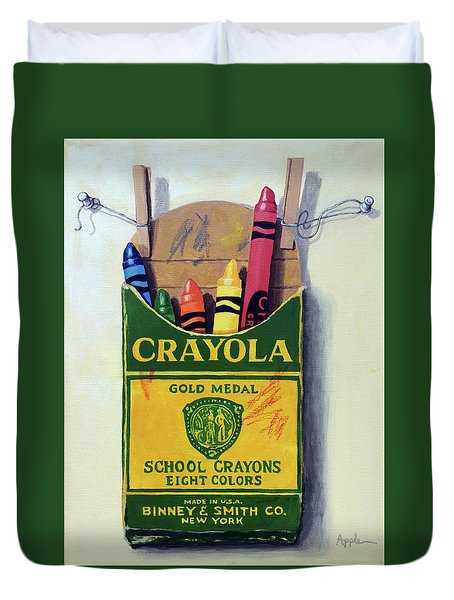 Duvet Cover featuring the painting Crayola Crayons Painting by Linda Apple