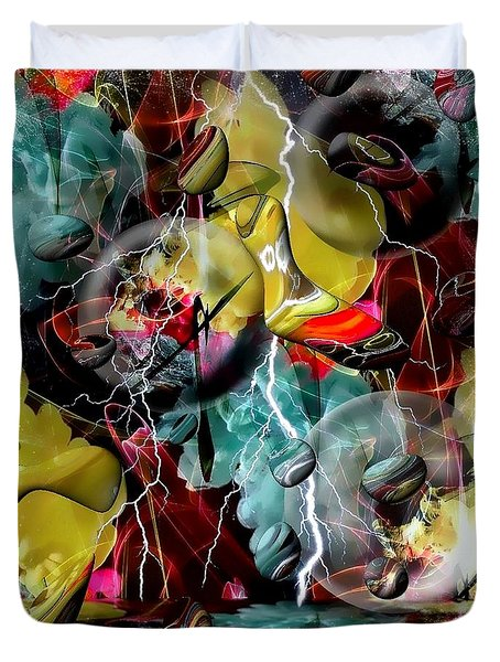 Duvet Cover featuring the digital art Crazy Abstract World By Nico Bielow by Nico Bielow