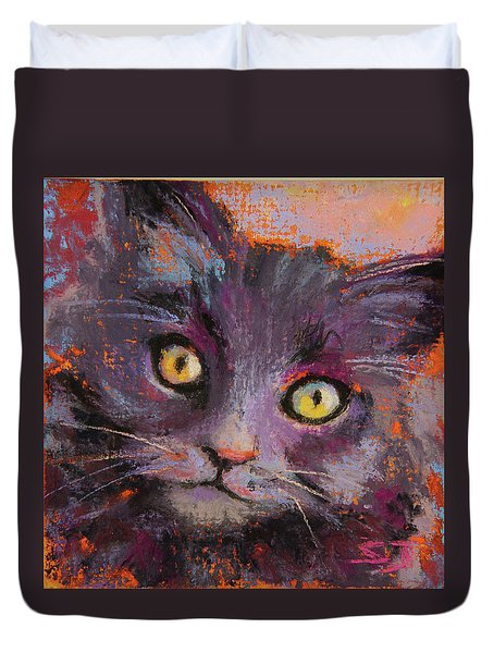 Crazy Cat Black Kitty Duvet Cover