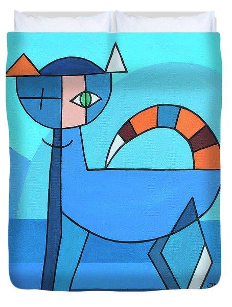Crazy Cat Duvet Cover by Jutta Maria Pusl