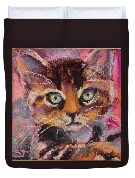 Crazy Cat Tabby  Duvet Cover