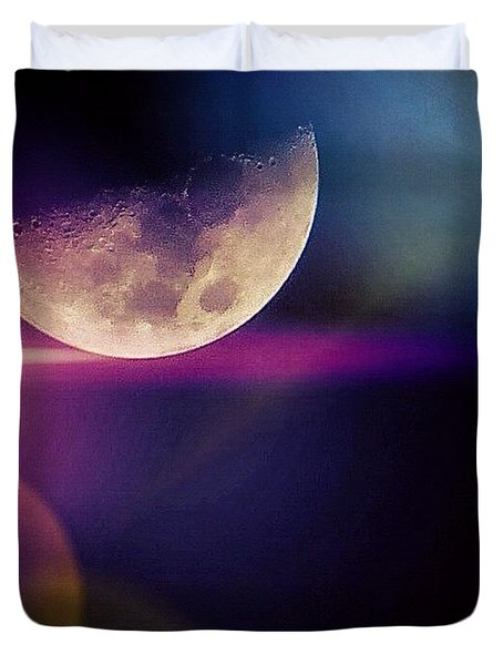 #crazy #colorful #fun #moon And The Duvet Cover