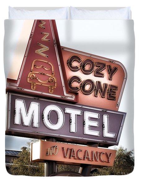 Crazy Cone Motel Vintage Neon Sign Duvet Cover