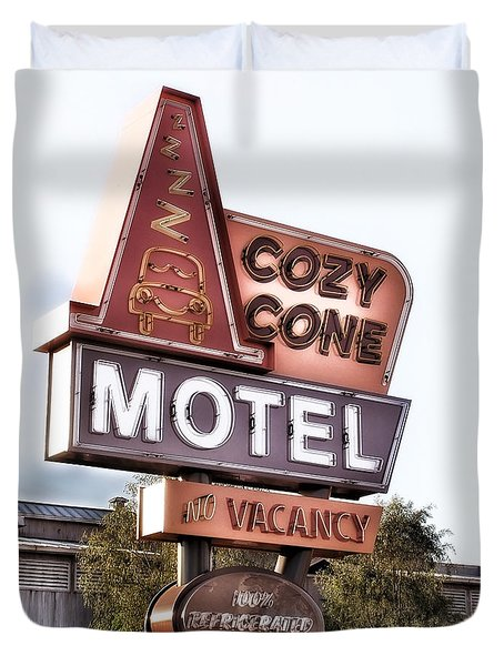 Crazy Cone Motel Vintage Neon Sign Duvet Cover