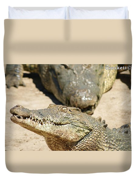 Duvet Cover featuring the photograph Crazy Saltwater Crocodile by Gary Crockett