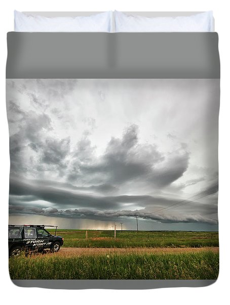 Crazy Shelf Cloud Near Ponteix Sk. Duvet Cover