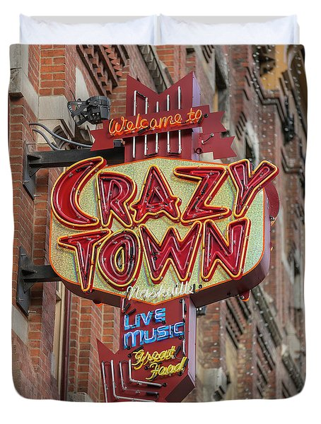 Duvet Cover featuring the photograph Crazy Town by Stephen Stookey
