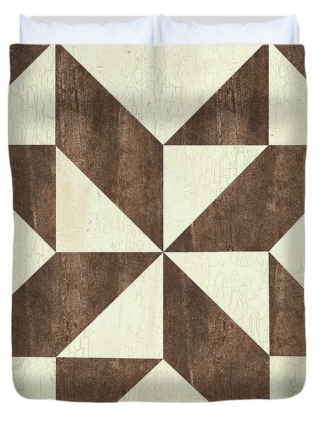Cream And Brown Quilt Duvet Cover