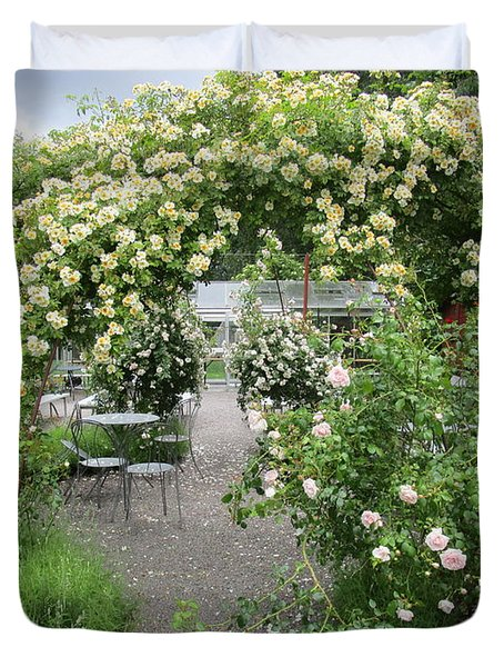 Cream-colored Roses With Your Coffee Duvet Cover