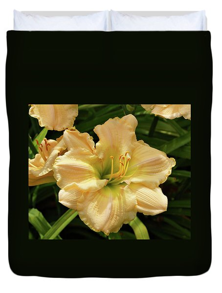 Duvet Cover featuring the photograph Cream Daylily by Sandy Keeton