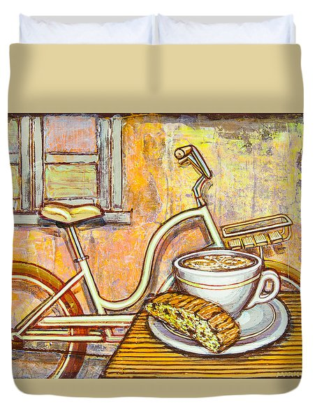 Cream Electra Town Bicycle With Cappuccino And Biscotti Duvet Cover by Mark Jones