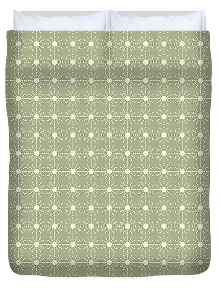 Sage Green And Cream Geometric Flower Pattern Duvet Cover