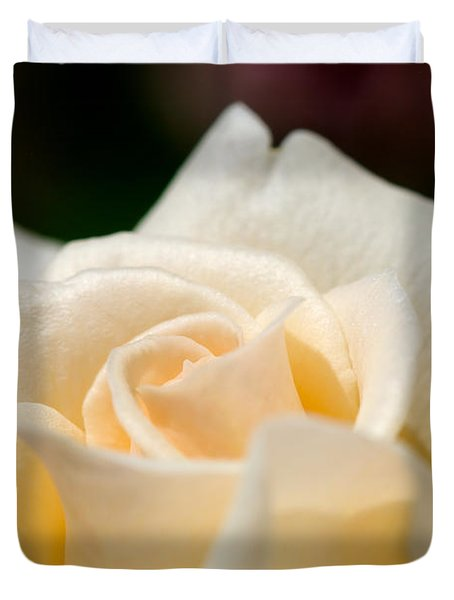 Cream Rose Kisses Duvet Cover