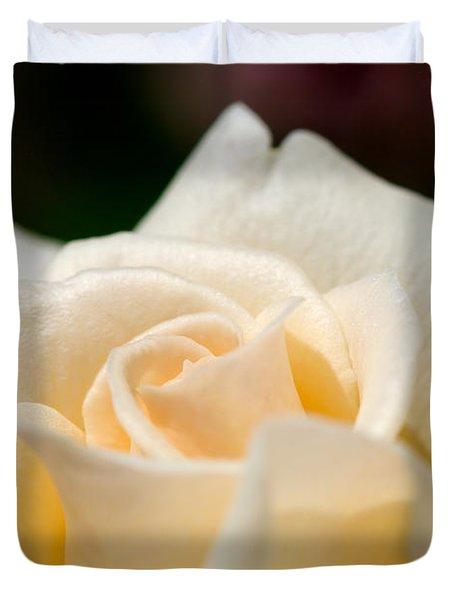 Cream Rose Kisses Duvet Cover by Lisa Knechtel
