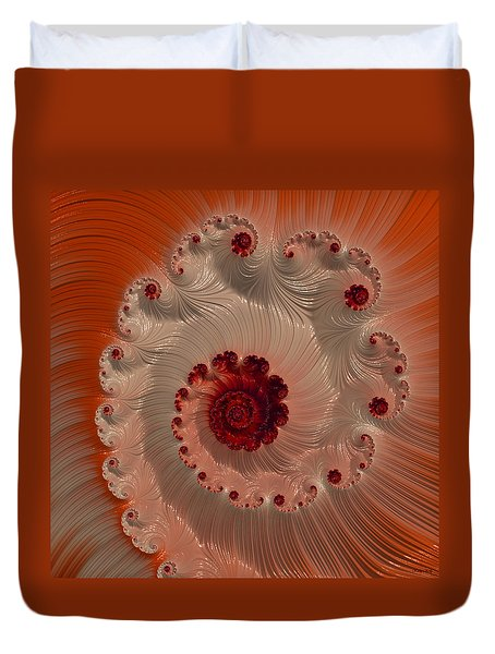 Duvet Cover featuring the digital art Cream With Cherry Swirl by Kathy Kelly