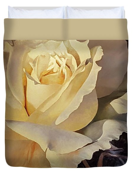 Creamy Rose Duvet Cover