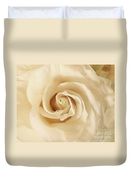 Duvet Cover featuring the photograph Creamy Rose by Mary K Conaboy