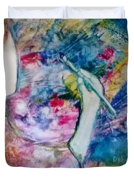 Duvet Cover featuring the painting Created To Create by Deborah Nell