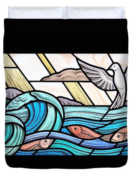 Creation Of The Sea And Sky Duvet Cover by Gilroy Stained Glass