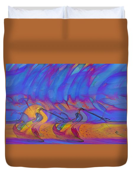Duvet Cover featuring the digital art Creative Motion by Linda Sannuti