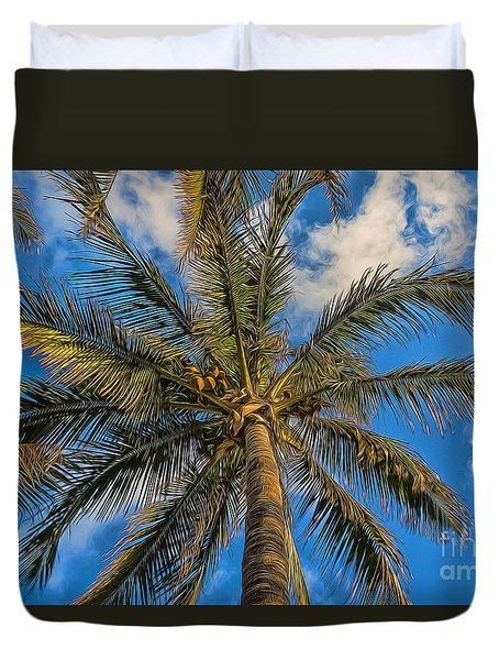 Duvet Cover featuring the photograph Creative Palm Tree by Darleen Stry