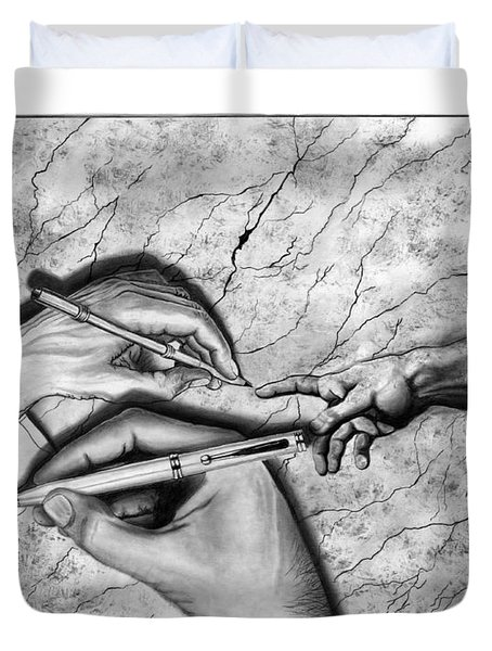 Creators Hand At Work Duvet Cover by Peter Piatt