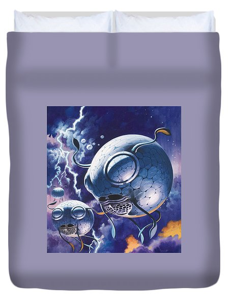 Creatures In Outer Space  Duvet Cover by Wilf Hardy