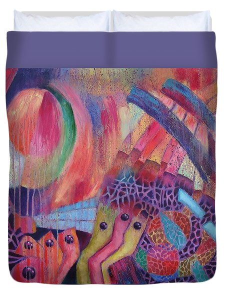 Duvet Cover featuring the painting Creatures Of Sea Glass Reef by Jason Williamson